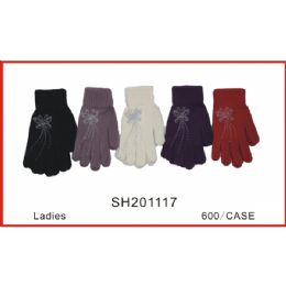 96 Units of Ladies Printed Gloves - Knitted Stretch Gloves