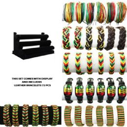 72 Units of BRAC 011 LEATHER BRACELETS 72 PCS WITH DISPLAY - Bracelets