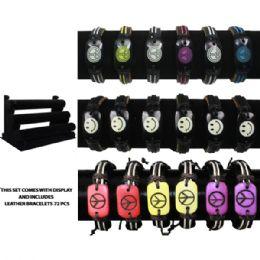 72 Units of BRAC 010 LEATHER BRACELETS 72 PCS WITH DISPLAY - Bracelets