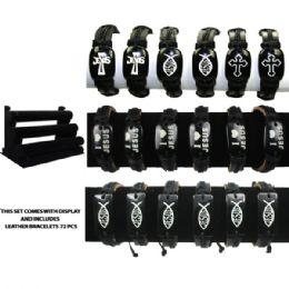 72 Units of BRAC 008 CROSS LEATHER BRACELETS 72 PCS WITH DISPLAY - Bracelets