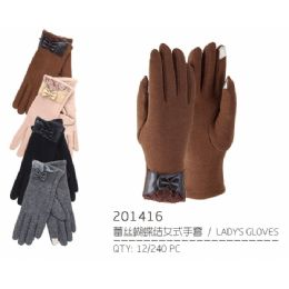 72 Units of Lady's Winter Touch Glove faux leather With Bow and Lace - Conductive Texting Gloves