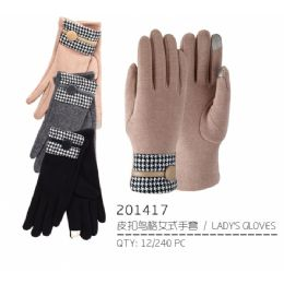 48 Units of Lady's Winter Touch Glove with Button - Conductive Texting Gloves