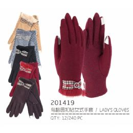 72 Units of Lady's Winter Touch Glove with Diamond Ring Design - Conductive Texting Gloves