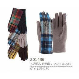 48 Units of Lady's Winter Glove with Design - Knitted Stretch Gloves