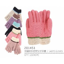 60 Units of Lady's Winter Glove with Design - Knitted Stretch Gloves