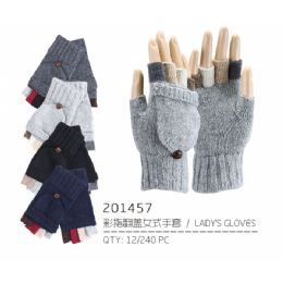 60 Units of Lady's Fingerless Glove with Cover - Knitted Stretch Gloves