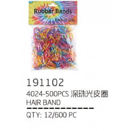 120 Units of RUBBER BAND 500 PIECE ASSORTED COLORS - PonyTail Holders
