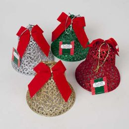 36 Units of Bell Glittered W/bow 6 Inch 4 Assorted Colors Ornament/table Decor - Christmas Ornament