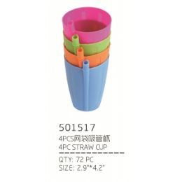 72 Units of STRAW CUP 4 PIECE - Disposable Cups