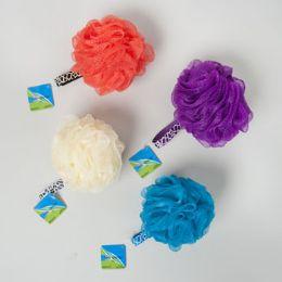 96 Units of Bath Sponge Solid Color 60gm W/animal Print Loop/96pc Pvc Tube Hba Hangtag - Shower Accessories
