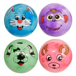 144 Units of Marble Pvc Ball With Animal Face - Balls