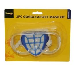 96 Units of 2 PIECE GOGGLE & FACE MASK KIT - Hardware Shop Equipment
