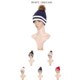 36 Units of Mans Striped Winter Hat - Winter Hats