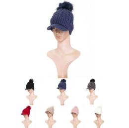 36 Units of Womens Soft Warm Ribbed Knit Visor Brim Pom Pom Beanie Hat With Plush Lining - Winter Hats