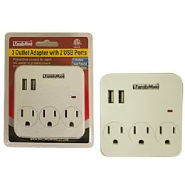 24 Units of 3 Outlet Adapter with 2 USB Port - Chargers & Adapters