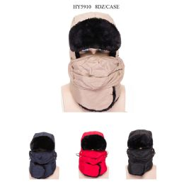 48 Units of Unisex Ski Faux Fur Winter Hat With Mask - Trapper Hats