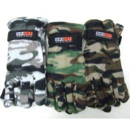 72 Units of Men Camouflage Fleece Gloves - Fleece Gloves