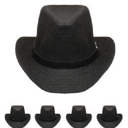 24 Units of Adults Cowboy Hat In Black - Cowboy & Boonie Hat