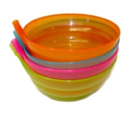 96 Units of 4 Piece Bowl With Straw 12.8cm - Plastic Bowls and Plates