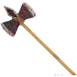 12 Units of Wooden Double-Edged Bloody Axes - Halloween & Thanksgiving