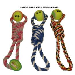 120 Units of Double Loop Rope With Tennis Ball Dog Toy - Pet Toys