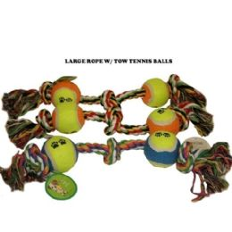 120 Units of Knotted Rope With 2 Tennis Ball - Pet Toys
