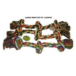 120 Units of Dog Rope Toy 3 Knots - Pet Toys