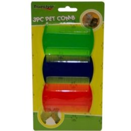 96 Units of 3 piece Pet Comb Assorted Colors - Pet Accessories