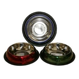 96 Units of 16oz Stainless Steel Painted Emboss Pet Bowl - Pet Accessories