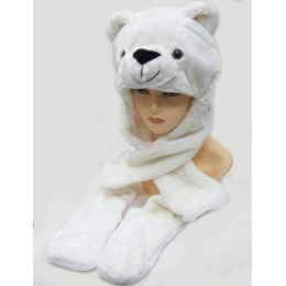 36 Units of Animal HaT-White Bear - Winter Animal Hats