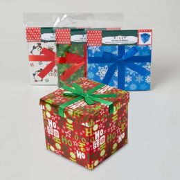 96 Units of Gift Box 7inch Cube With ribbon 4 assorted Xmas - X-MAS