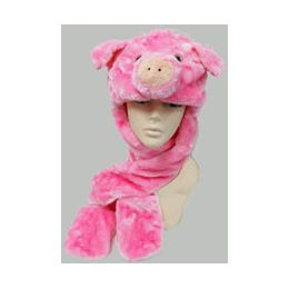 36 Units of Animal HaT-Pink Pig - Winter Animal Hats