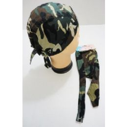 72 Units of Wholesale Skull Caps Motorcycle Hats Fabric Camo Print - Bandages and Support Wraps