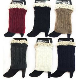 24 Units of Wholesale Braid Knitted Solid Color Boot Topper Leg Warmer Lace