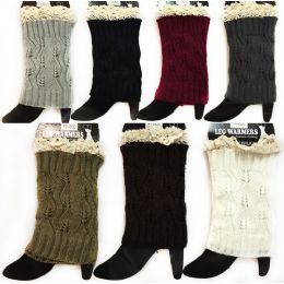 24 Units of Wholesale Knitted Boot Topper Leg Warmer Solid Color with Lace