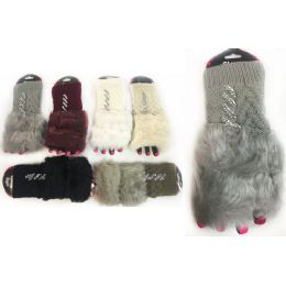 12 Units of Rhinestone Knitted Faux Fur Finger Less Gloves Assorted - Knitted Stretch Gloves