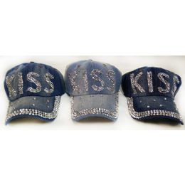 4b232ffc42e 48 Units of Wholesale Strapback Denim Hat with KISS Rhinestone Decorations  - Hats With Sayings - at - alltimetrading.com