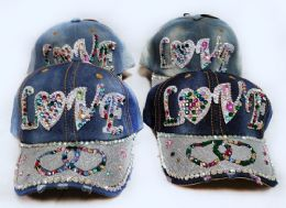 24 Units of Strapback Denim Hat with Love Two Heats Rhinestone - Hats With Sayings