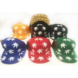 48 Units of Wholesale Snap Back Flat Bill Marijuana Leaf All Over Print Hat - Hats With Sayings