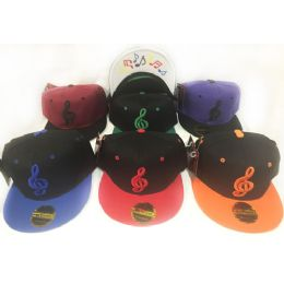48 Units of Wholesale Snap Back Flat Bill Musical Note Symbols Hat - Hats With Sayings