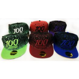 48 Units of Wholesale Snap Back Flat Bill Paint Splatter 100 Assorted Colors - Hats With Sayings