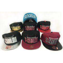 48 Units of Wholesale Snap Back Flat Bill South Carolina Assorted Color Hats - Hats With Sayings
