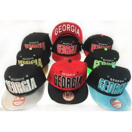 48 Units of Wholesale Snap Back Flat Bill Georgia Assorted Color Hats - Hats With Sayings