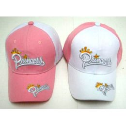 48 Units of Wholesale Adjustable Baseball Hat Princess with Crown Two Tone - Hats With Sayings