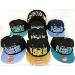 48 Units of Wholesale Snap Back Flat Bill North Carolina Assorted Color Hats - Hats With Sayings