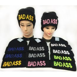 """36 Units of """"Bad A$$"""" Winter Knitted Beanie Hat Toboggan Hats - Hats With Sayings"""