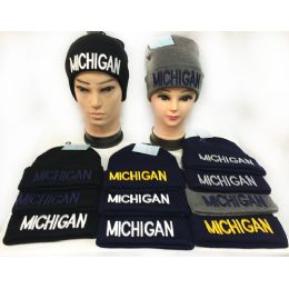 36 Units of Wholesale Winter Knitted Beanie Hat Bay City Toboggan Hat - Hats With Sayings