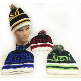 "28 Units of ""kush"" Knitted Pompom Winter Beanie Hats - Hats With Sayings"