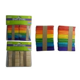 144 Units of Assorted Color Craft Sticks - Craft Wood Sticks and Dowels