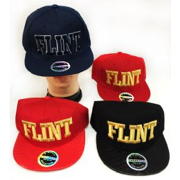48 Units of Wholesale Snap Back Flat Bill Block Letter Flint Hat Assorted - Hats With Sayings